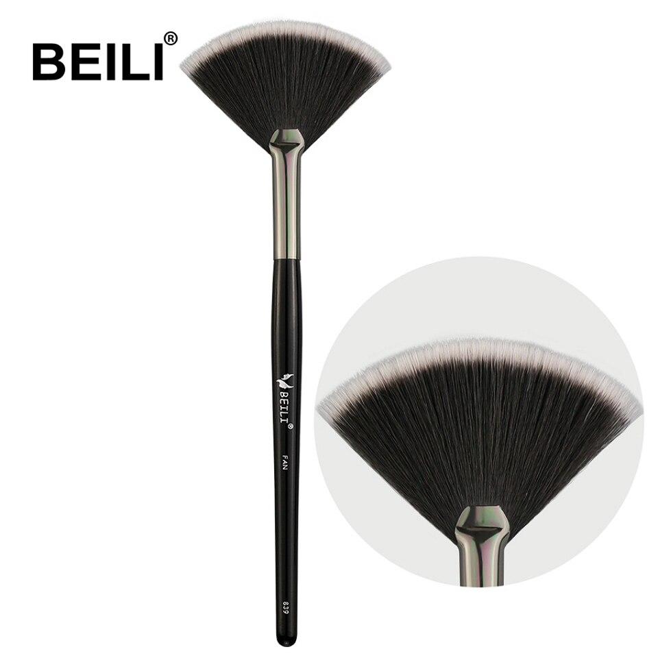 BEILI 1 stück Schwarz Fan pinsel augenbraue Pinsel fan Lip Highlighter Eye lash Kamm Pinsel Liner Synthetische haar Einzel make-up Pinsel