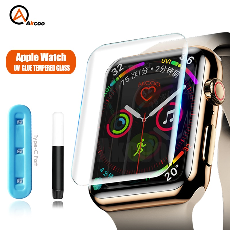 100d curved tempered glass for apple watch series 38 40 42 44 38 42mm hd screen protector film for iwatch 5 4 3 2 1 full glue For Apple Watch Series 6 Screen Protector UV Full Glue Tempered Glass for Apple Watch 1 2 3 4 5 SE Glass Protector 38 40 42 44mm