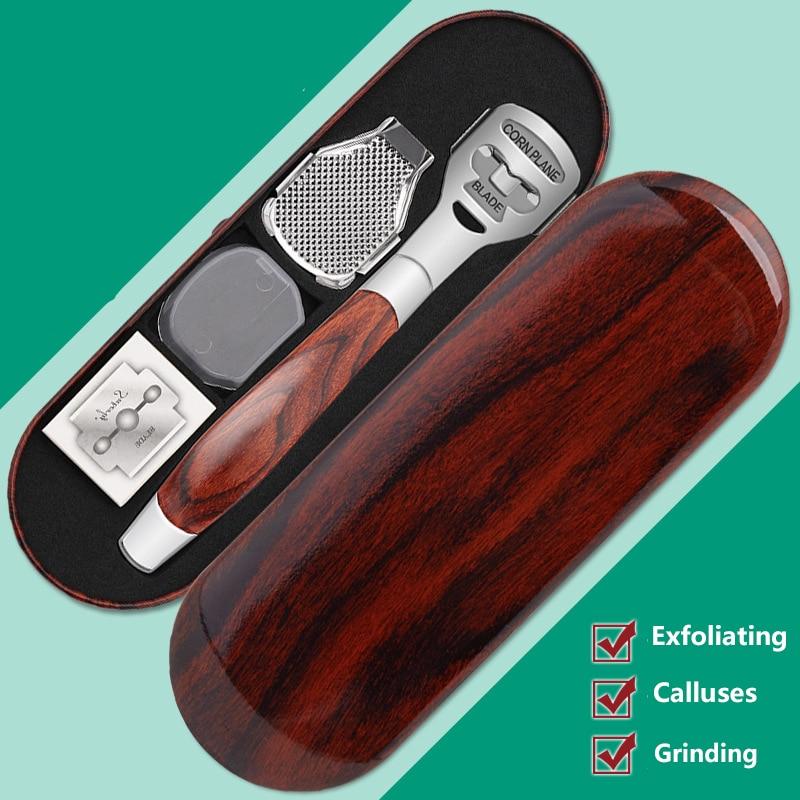 4pcs/set Wood Handle Foot Callus Shaver Heel Feet Skin Shaver Corn Cuticle Cutter Remover Rasp Pedicure Razor Portable Foot Care