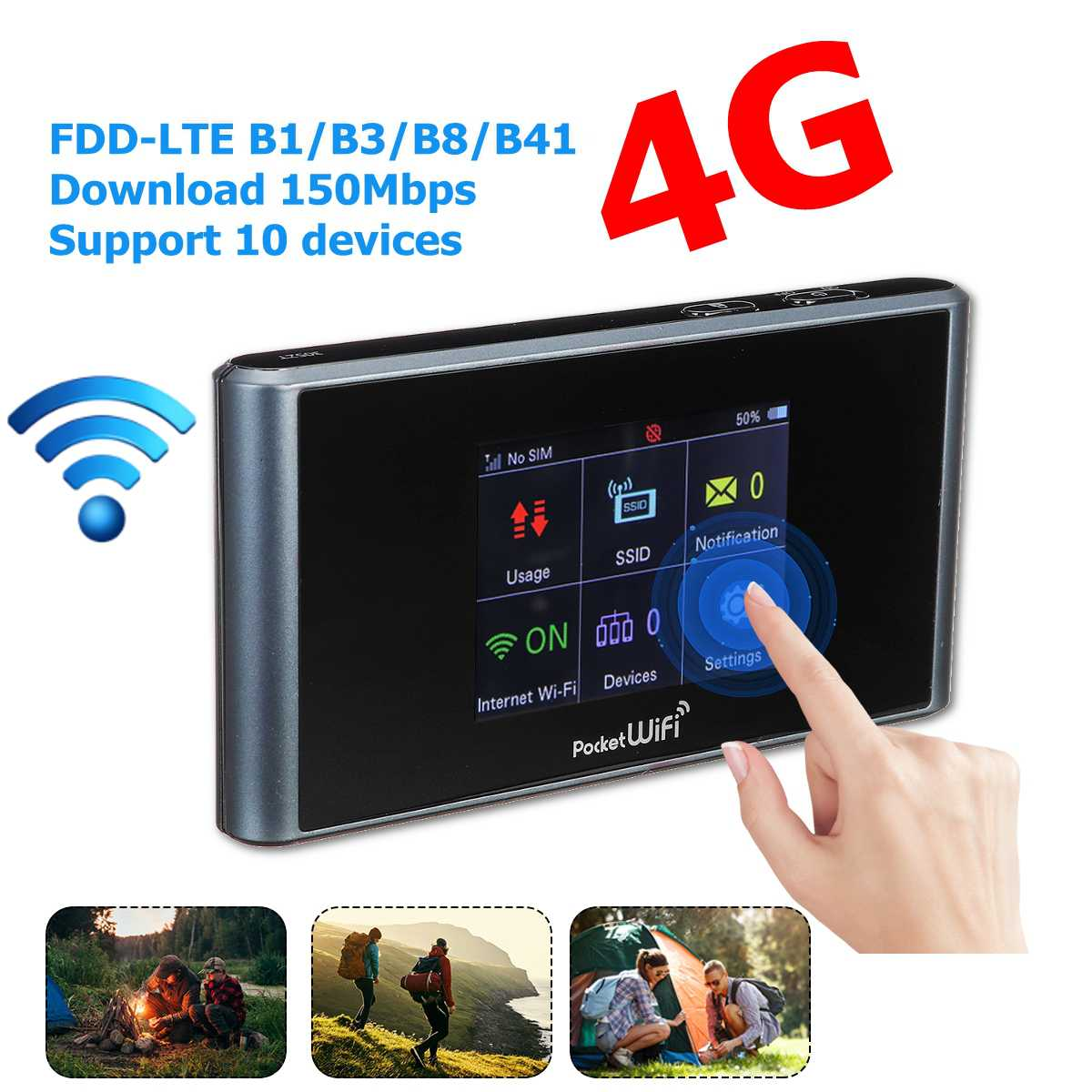 Enrutador Wifi Lte 4g portátil Hotspot Router inalámbrico compatible con tarjeta SIM módem de 150Mbps para la oficina en casa