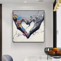 Картина на холсте с изображением жеста сердца и граффити, плакаты с любящими руками, принты, Настенная картина для гостиной, домашний декор