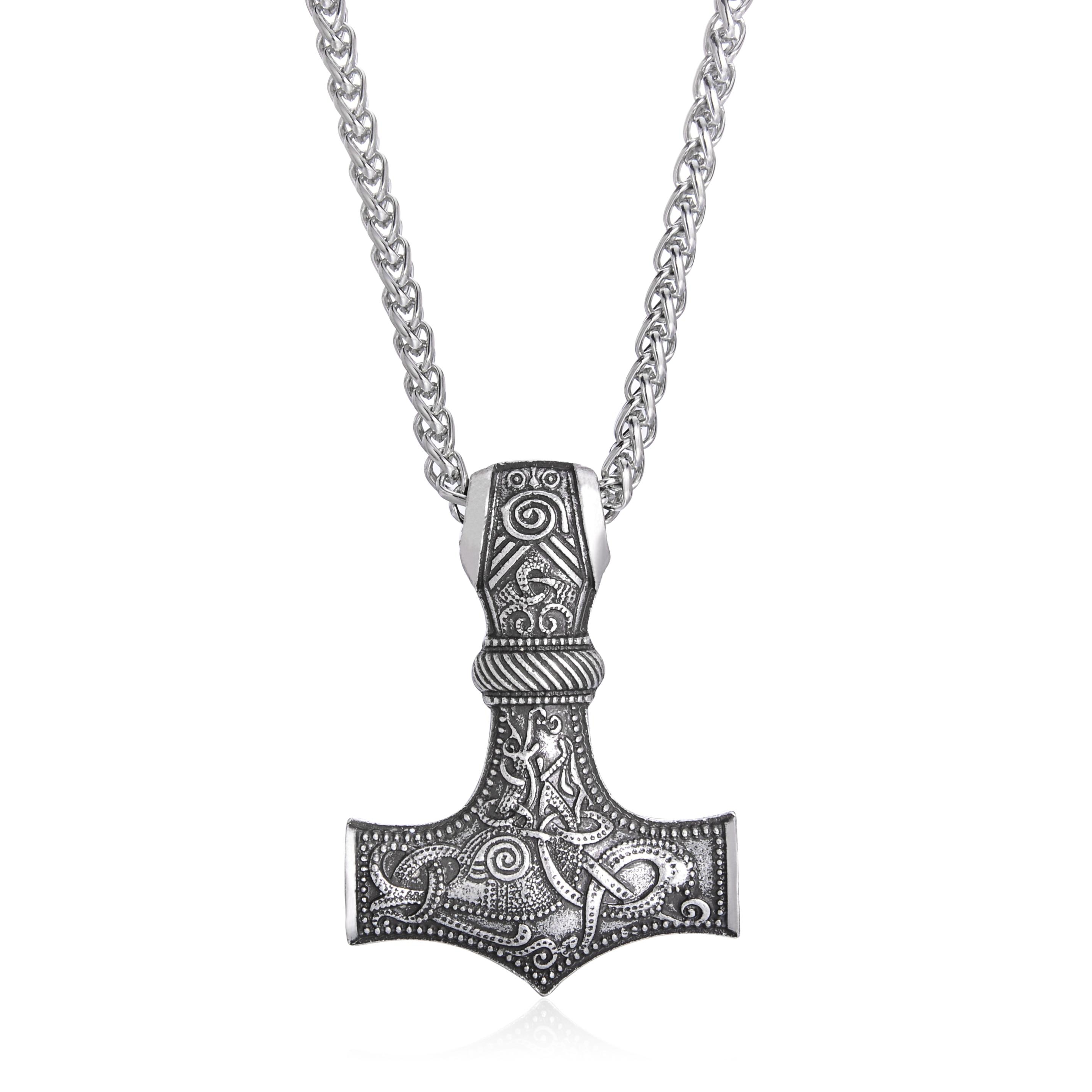 LANGHONG Legendry collar de martillo de Thor nórdico vikingo martillo de Thor con el collar de cuerno de Dios joyería talismán