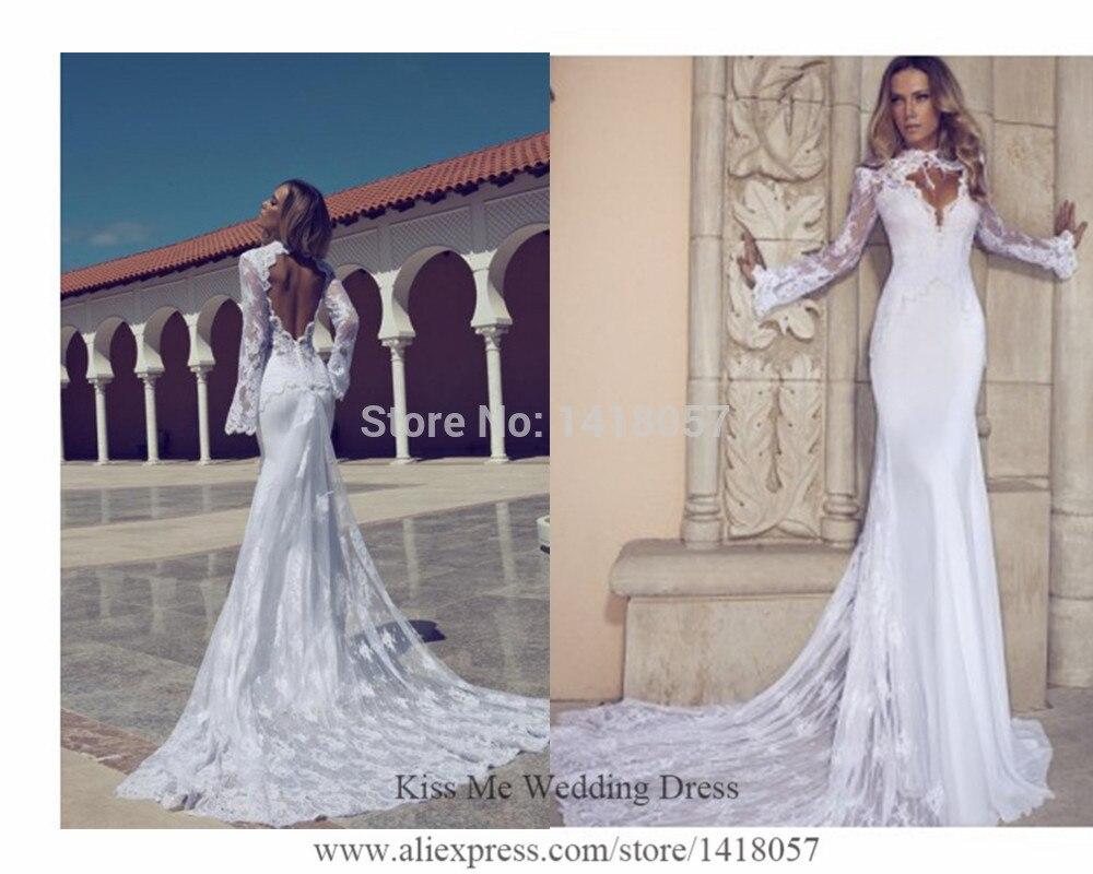 2018 Sexy Russian Berta Wedding Dresses Lace Mermaid Bridal Gowns Long Sleeves Open Back Vestido De Noiva Manga Longa H540