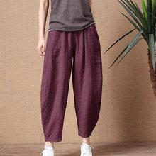 Women's Cotton Linen Pants Elastic Waist Vintage Trousers Lady Loose Casual Pants Plus Size S-5XL Re