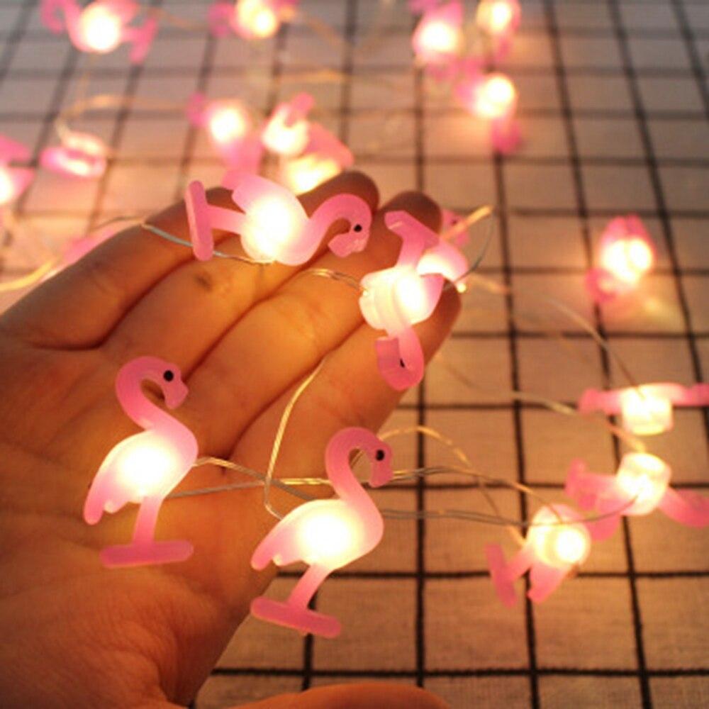 20 LED 2m de cuerda luz flamenco piña unicornio estrellas forma lámpara LED para Hawaii boda decoración de fiesta de cumpleaños
