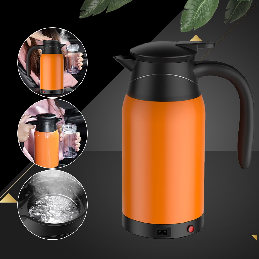 Автомобильный Электрический чайник из нержавеющей стали, автомобильная чашка с подогревом, кофейная чашка, дорожный походный лодочный Эле...