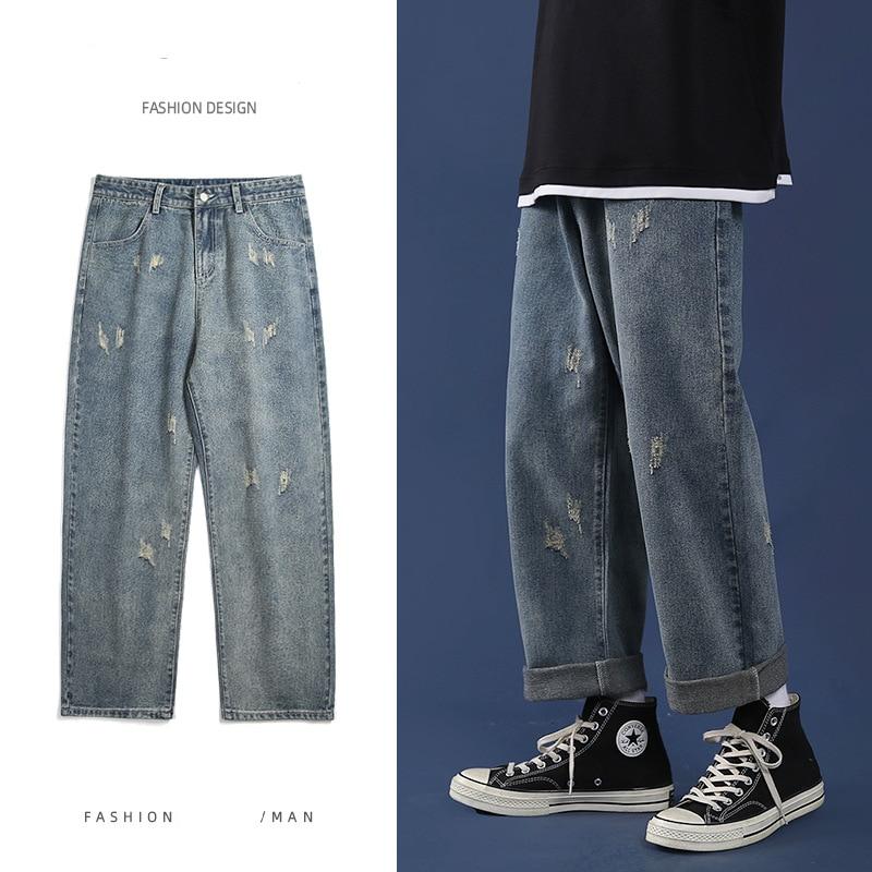 Мужские джинсы в стиле ретро, синие мешковатые прямые джинсы, Корейская уличная одежда, потертые широкие брюки, мужские повседневные брюки ...