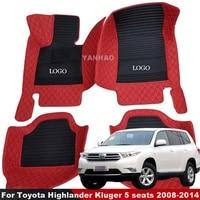 car floor mat for toyota highlander kluger 5 seats 2008 2014 carpets auto interior foot mat accessories car styling