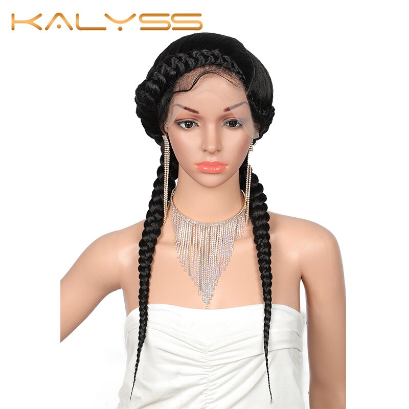 Kalyss 24'' Fully Hand-Braided Swiss Lace Front Dutch Twins Braided Wigs with Baby Hair for Women No Split End Black Braided Wig