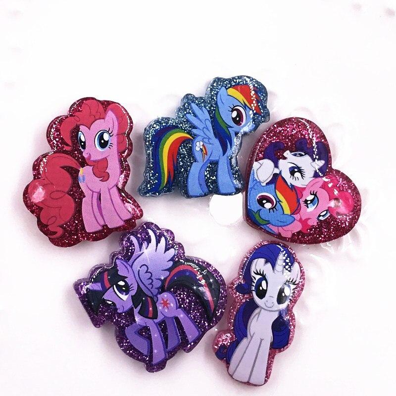 5 uds. My little Horse Poni Unicorn resina cabujones traseros planos para DIY joyería adorno niños niñas dibujo para manualidades encantos