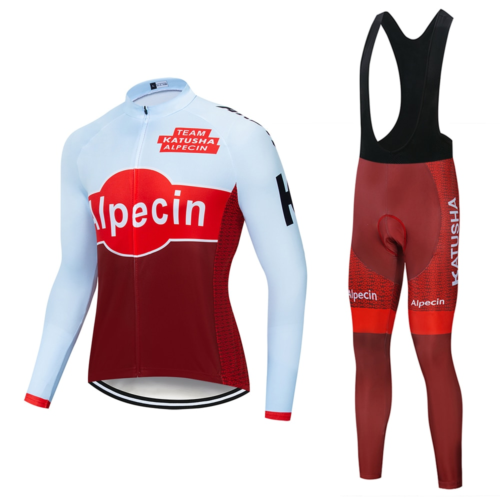 2019 KATUSHA equipo Primavera Verano hombres Ciclismo Jersey manga larga Ropa de bicicleta con pantalones babero Ropa Ciclismo