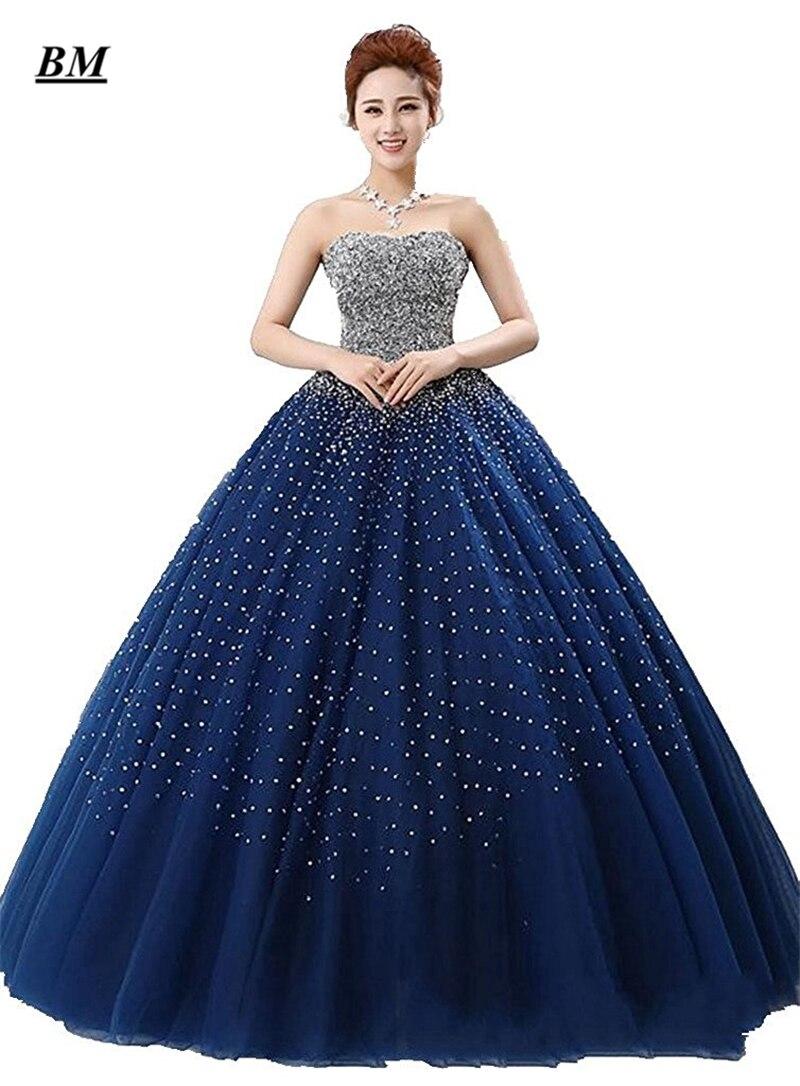 2019 Nova Azul Royal Vestidos Quinceanera vestido de Baile Beading Doce Vestidos Formal Partido Prom Vestido Vestido De 15 16 anos BM57