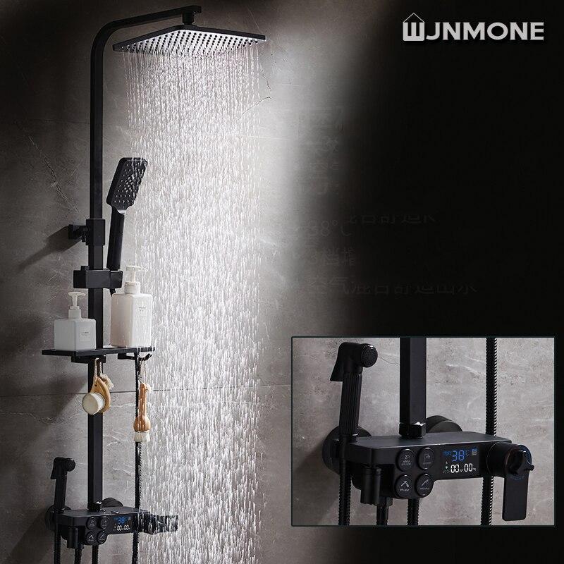 أسود الحمام صنبور دش رئيس ، درجة الحرارة صنبور replete للاستحمام ، متعددة الوظائف تمديد حوض استحمام للاستخدام في الحمام صنبور مجموعة