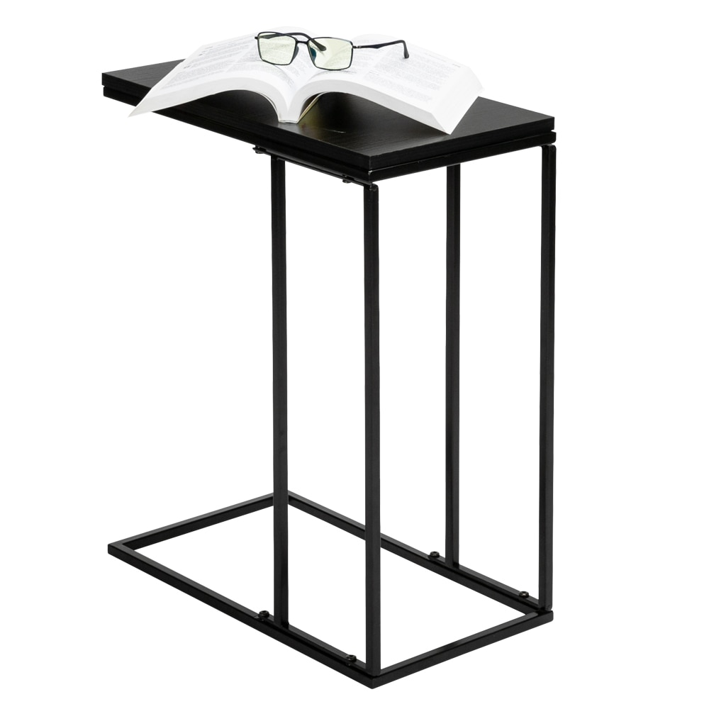 Side Table Artisasset Black MDF Countertops Grey Wrought Iron Base Single Layer Snack Table Coffee Table