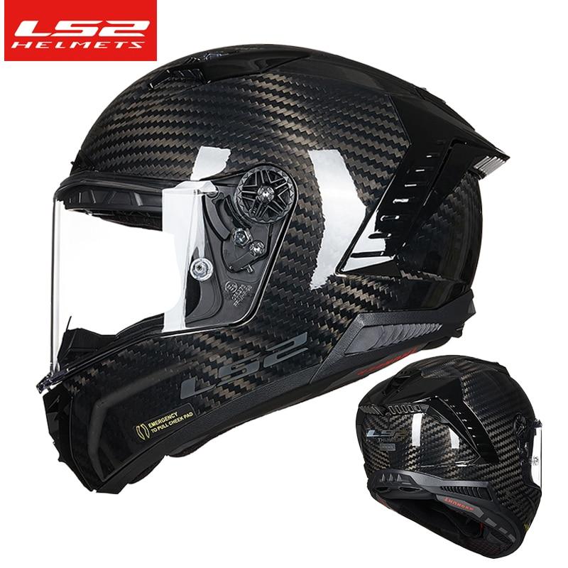 LS2 FF805 أجزاء دراجات من ألياف الكربون خوذة كامل الوجه خوذات سباق السيارات cascos الفقرة موتو ls2 الرعد مزدوجة D الدائري
