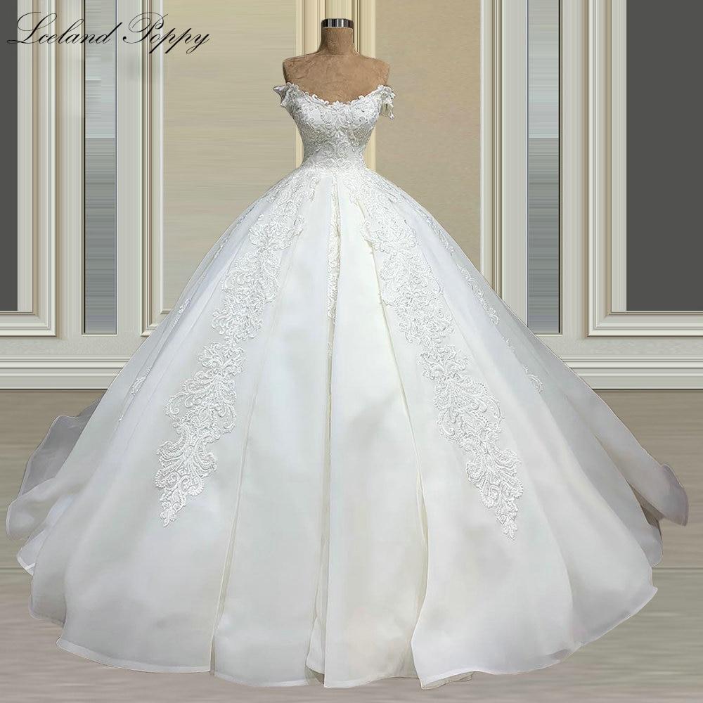 فستان زفاف من Lceland بلون الخشخاش ذو رقبة مغرفة وحفلات الزفاف 2021 عاري الكتفين مزين بدانتيل Vestido de Novia زي العرائس