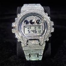 Hip Hop MISSFOX Fully Iced Out Men Watches Digital Stainless Steel Fashion Luxury Diamond Quartz Wri