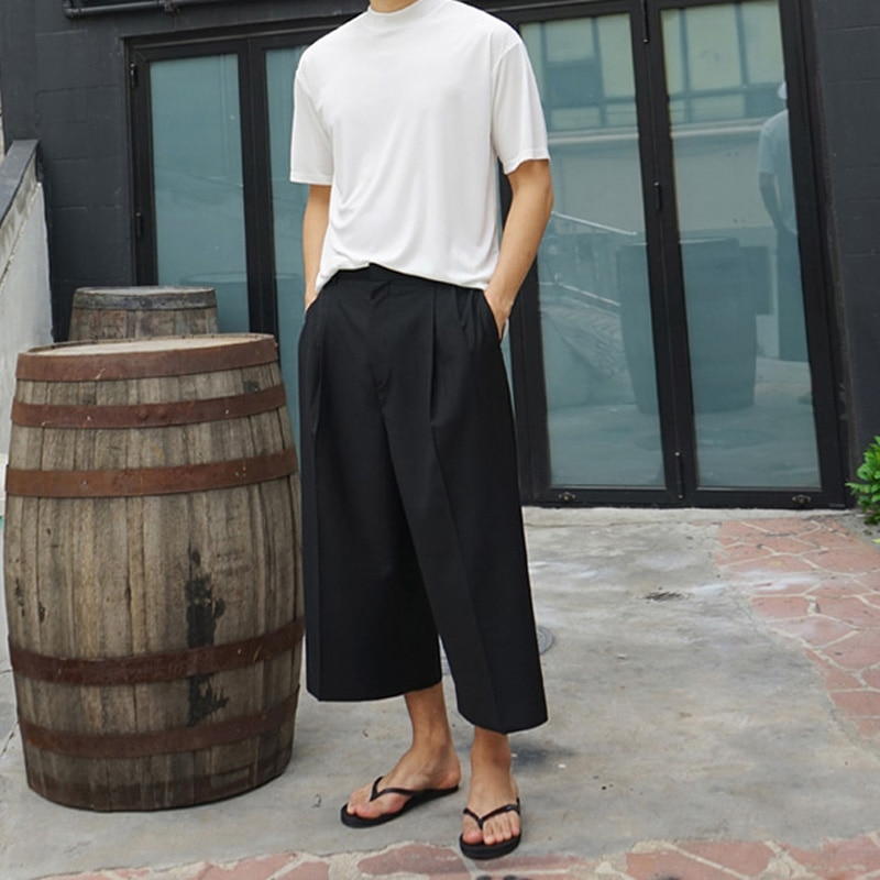 M-4XL Trendy Men's Spring and Summer New Casual Pants Wide Leg Pants Skirt Fashion Pleated Solid Color Loose Nine-point Pants
