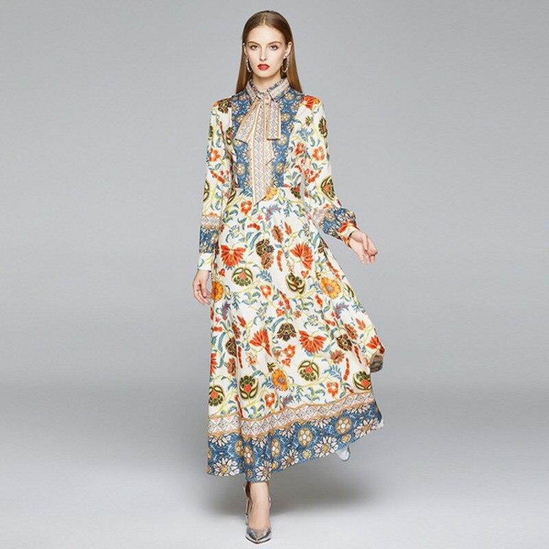 2020 outono runway moda floral impressão maxi vestido feminino turn down colarinho manga longa festa de cintura alta tornozelo comprimento vestido de festa
