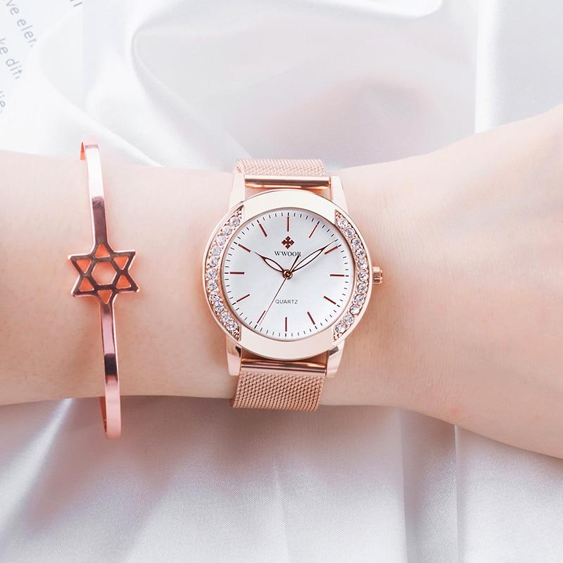 WWOOR Women Clock Top Brand Luxury Diamond Quartz Waterproof Wrist Watch Fashion Rose Gold Ladies Bracelet Watch Women Gift New enlarge