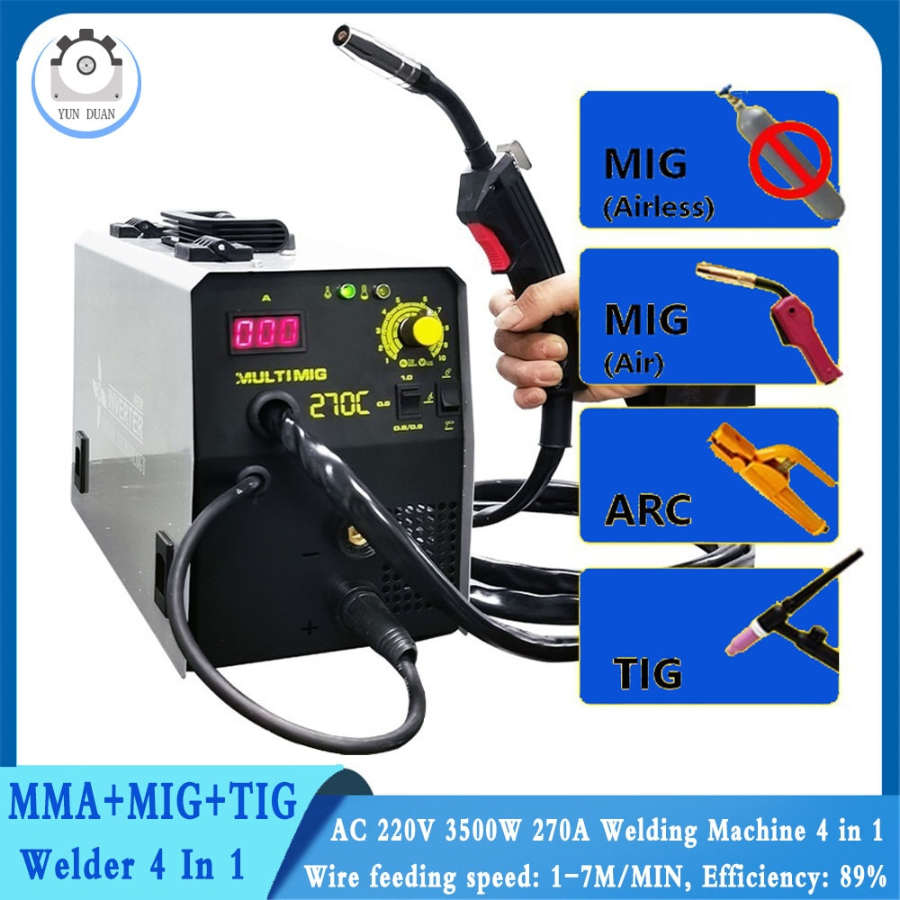 270A MMA+TIG+MIG (gas/gasless) Welding Machine 4 In 1 Semi-Automatic IGBT Inverter TIG Argon ARC Gas-Less Synergy 4 In 1 Welder