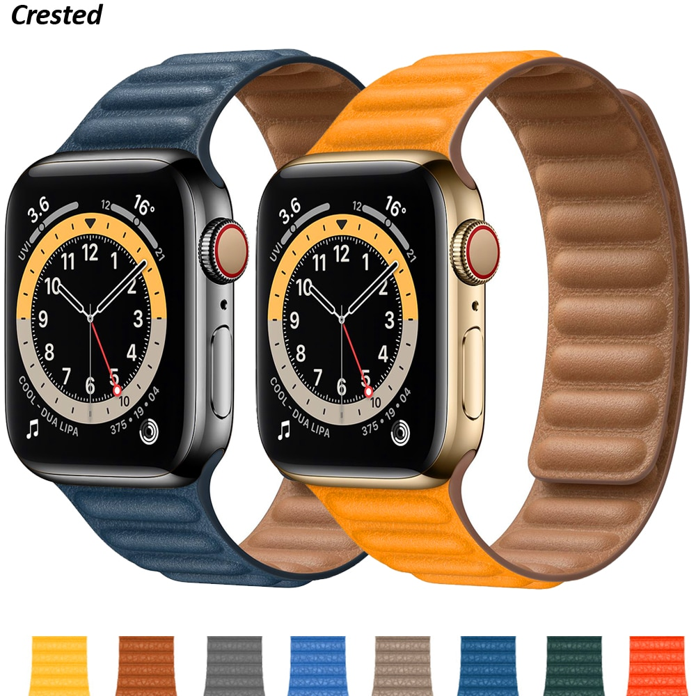 Silicone/Leather Link For Apple watch band 40mm 44mm 42mm 38mm 42 mm 1:1 Magnetic Loop bracelet iWat