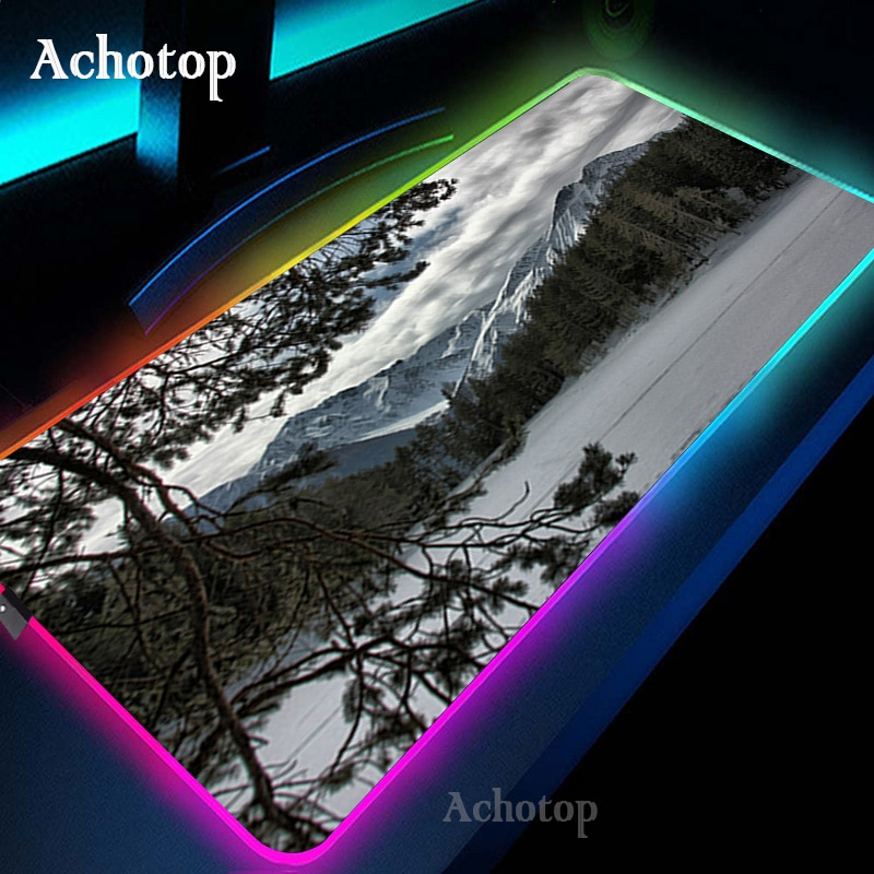 Blue Forest Snow RGB Mouse Pad Gaming Mouse Pad Computer Large Mousepad Backlit XXL Mouse Pads LED Gamer Mause Carpet Desk Mat