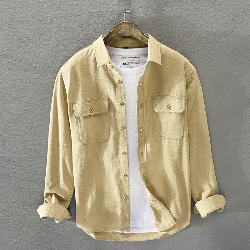 Рубашка мужская с карманами, Модный хлопковый комбинезон в британском стиле, повседневная простая Молодежная винтажная дизайнерская сороч...