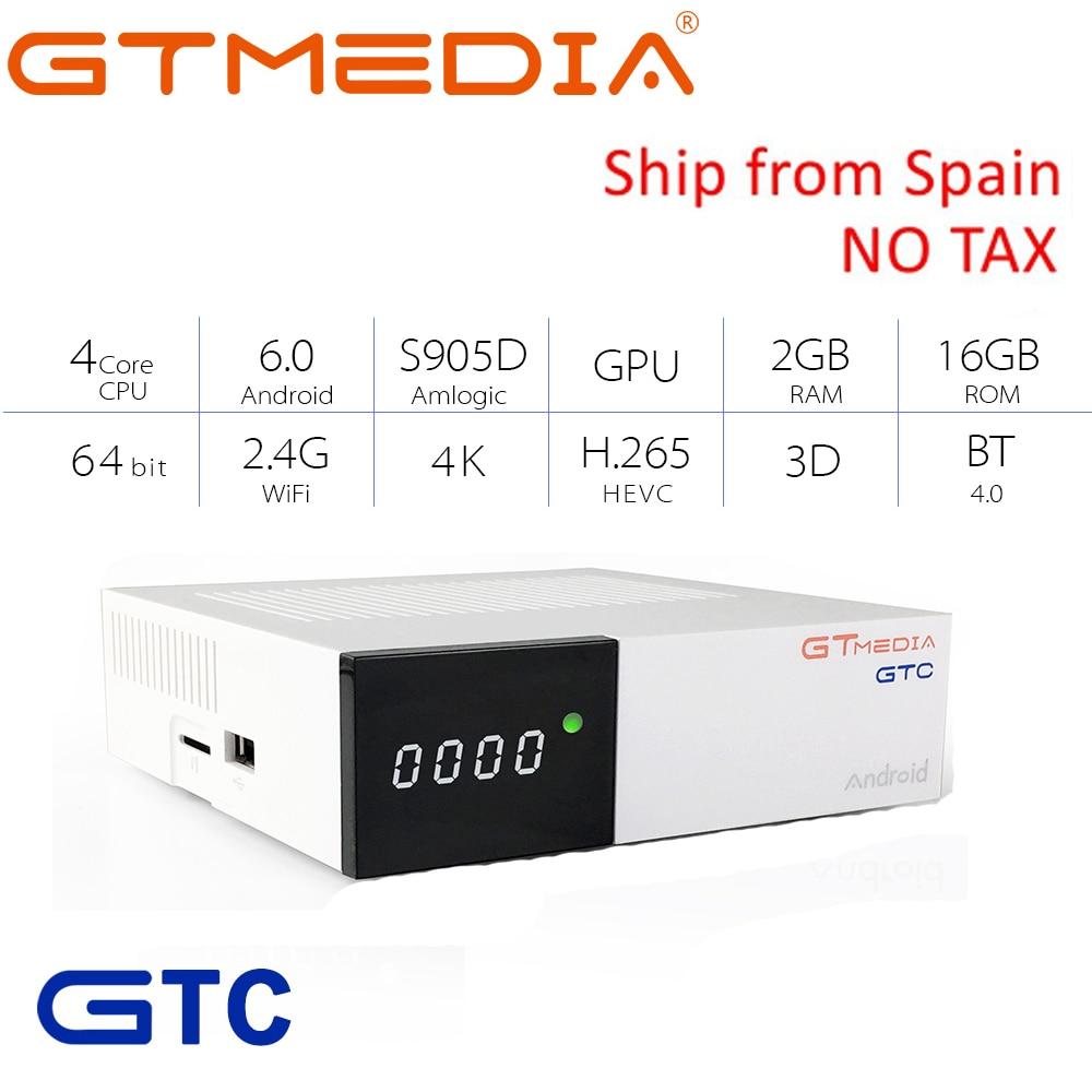 GTmedia GTC Satellite Receiver DVB-S2 DVB-C DVB-T2 ISDB-T Amlogic S905D android 6.0 TV BOX 2GB RAM 16GB ROM Freesat GTC  CCCAM