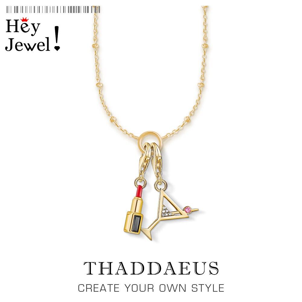 Collar de encanto cóctel dorado y lápiz labial, joyería de moda de primavera 2020 Ts cadena Thomas Link 925 regalo de plata esterlina para mujeres