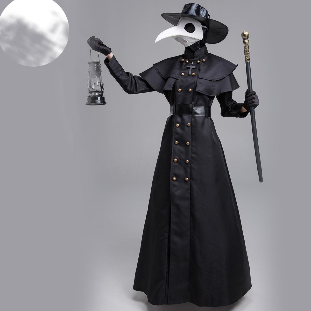 Костюм Чумного доктора, длинный халат, накидка в стиле стимпанк, маска с клювом с птицами, костюм Доктора чумы для косплея, костюмы на Хэллоу...
