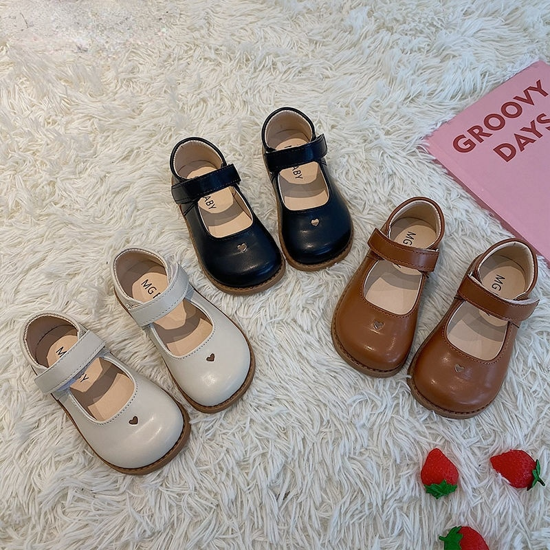Girls Retro Small PU Leather Shoes Spring Autumn All-match Childres Single Shoes Princess Shoes Baby