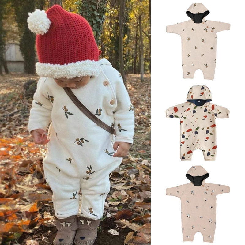 0-24M Baby Double-layer Plus Velvet Hooded Romper Fall Winter Cotton Printed Sweater Coat Baby Boy Girl Clothes Kids Outwear