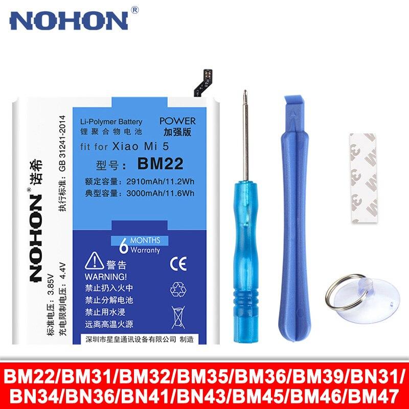 NOHON BM22 BM31 BM32 BM35 BM36 BM39 BN31 BN34 Bateria Para Xiaomi Mi 3 4 5 6 4C 5S 5X 6X Mi5 3 3S 3X 4X 5A Nota Redmi 2 3 4 4X