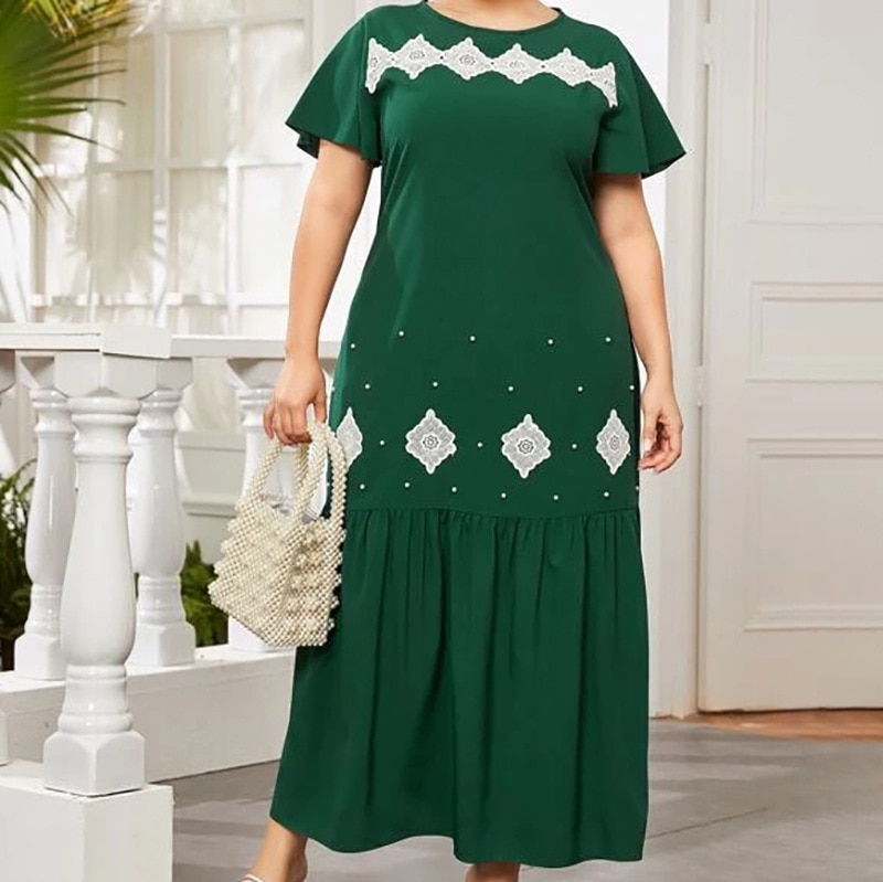 Plus Size Summer Dresses for Women Short Sleeve Green Casual Dress 2021 New Elegant Ruffle O Neck Wo