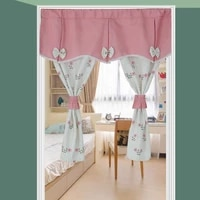 pastoral door curtain flowers leaves printed short curtains for living room bathroom partition half kitchen curtains small drape