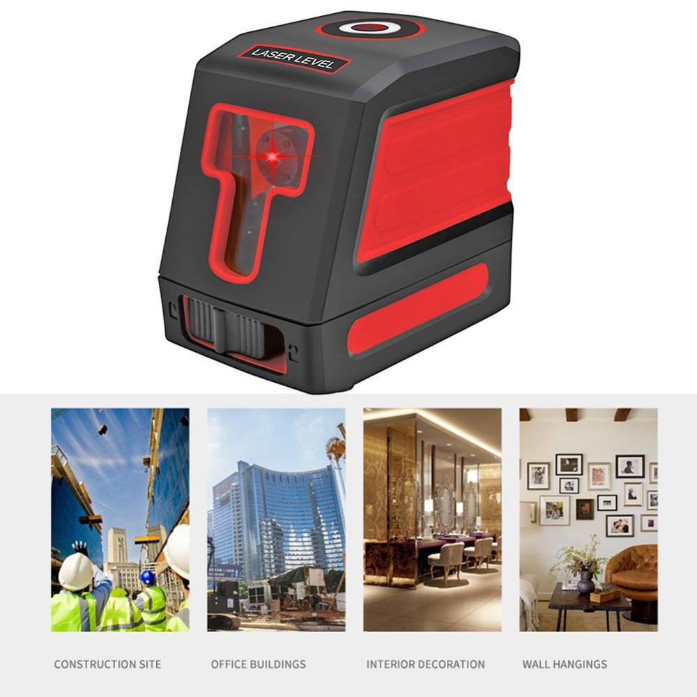 Medidor láser de nivel de láser infrarrojo Vertical de haz rojo de 2 líneas medidor de nivel de láser medidor de distancia para línea láser medida construcción a