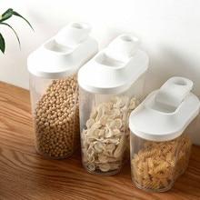 PP Food Storage Box Plastic Clear Container Set with Pour Lids Kitchen Storage Bottles Jars Dried Grains Tank 1000ml /1500ML #15