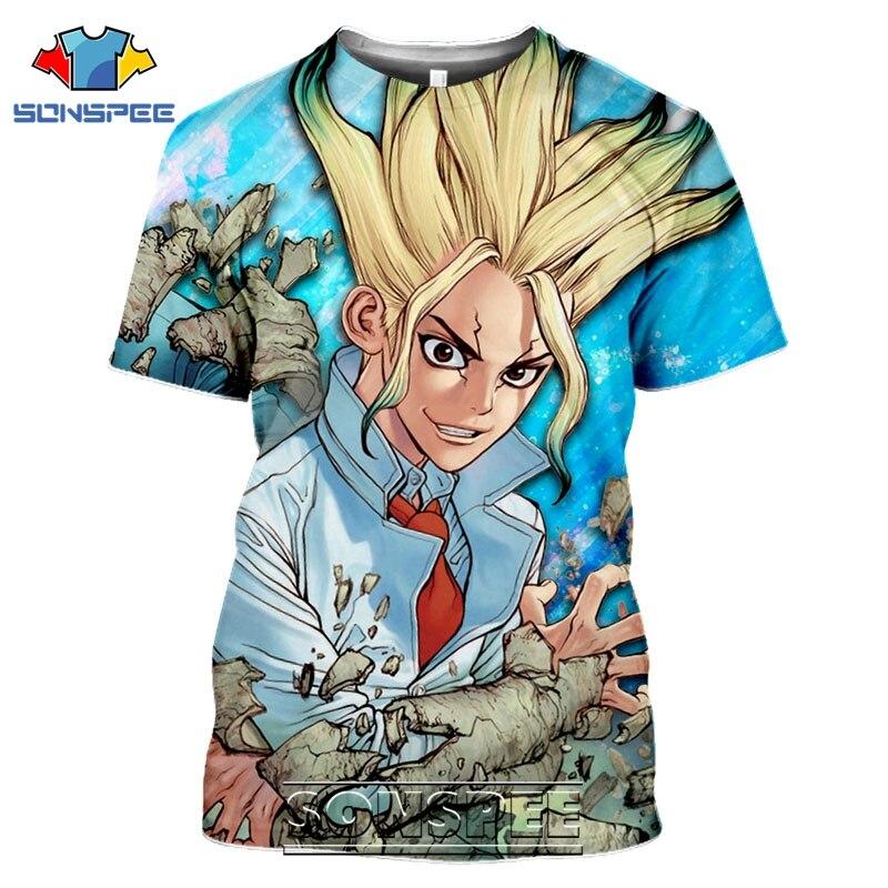 SONSPEE 3D Druck Dr Stein T-shirts Männer Frauen Casual Cartoon Kurzarm Streetwear Harajuku Lustige Anime Tees Tops Shirt
