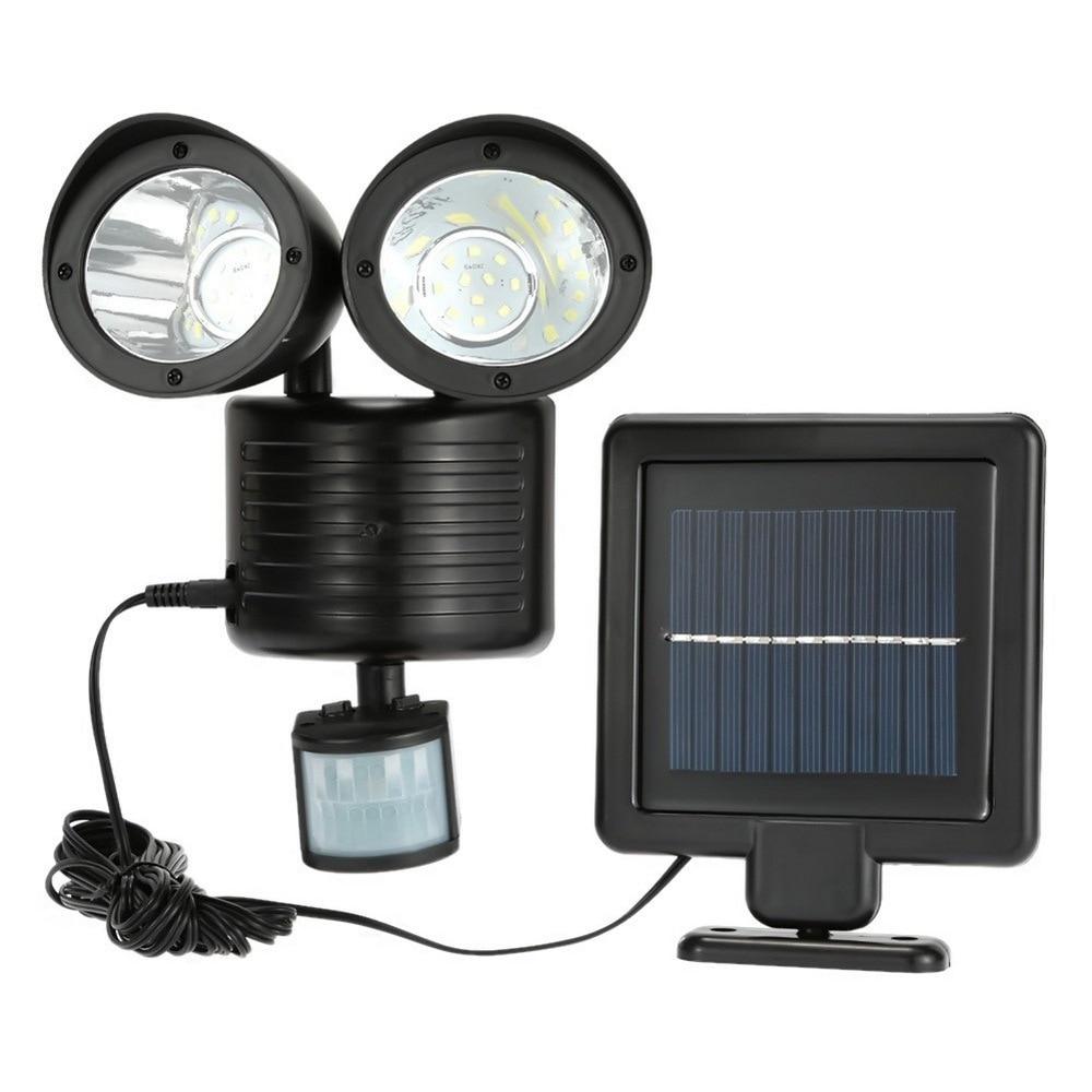 Lámpara Solar giratoria doble de 22 luz LED para jardín, lámpara Solar con Sensor PIR, lámpara Solar para exteriores, luces de pared del pasillo impermeables