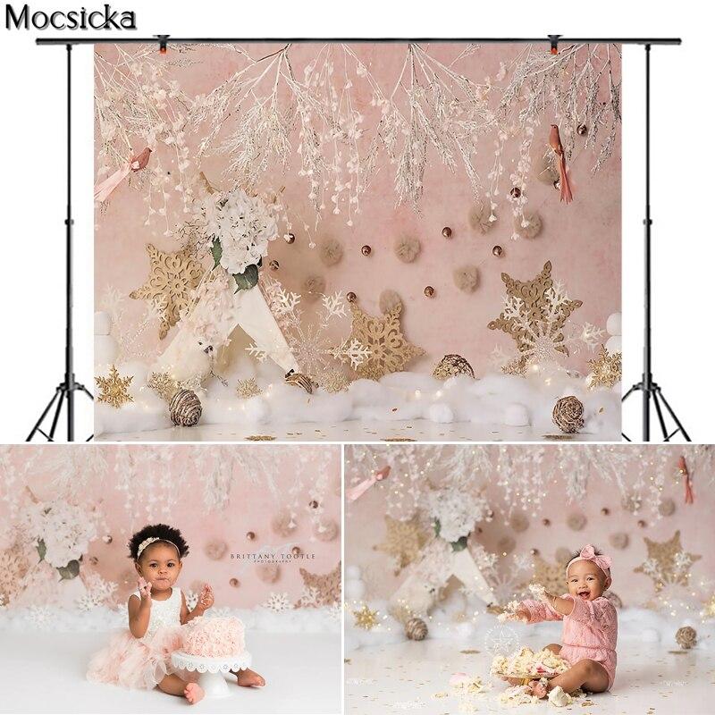 Mocsicka Christmas Photography Background Snowflake Backdrop Children Portrait Xmas Newborn Party Decoration Props Photo Studio