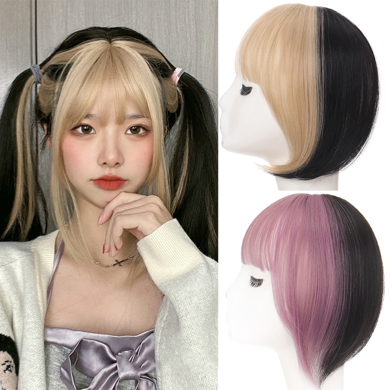 Synthetic Two-color Air Bangs Synthetic Fake Bangs Hair Piece Clip In Hair Extensions Blend Hair Clip In Hair Bangs Hairpiece
