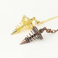Reiki métal Pendule pour radiesthésie Divination guérison spirituelle Wicca femmes hommes amulette spirale cône pyramide Pendule breloque bijoux
