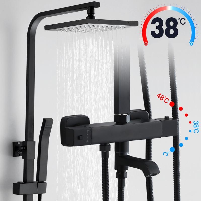 أسود دش ثرموستاتي صنبور مجموعة الأمطار أنواع متعددة طويلة صنبور حوض الاستحمام الحنفية مع ارتفاع رذاذ الحمام Fauct