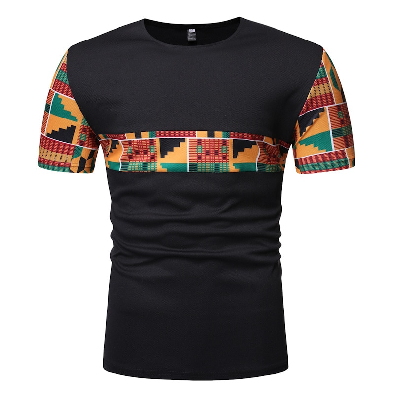 De moda Pantalones de algodón camisa para hombre manga corta Ghana Tops Ankara paneles Geo imprimir camiseta Color bloqueado ropa