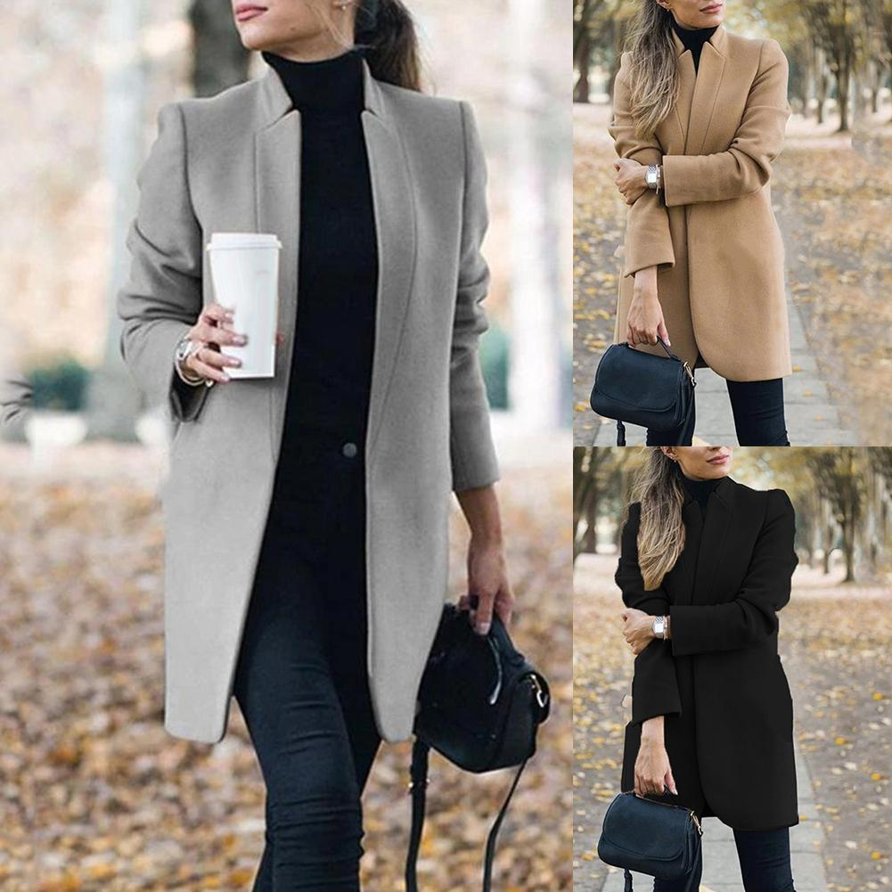 Moda plus size 5xl casacos de inverno e jaquetas femininas casaco de lã senhora do escritório cor sólida gola para roupas femininas