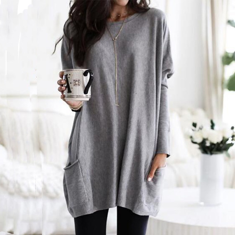 Fall 2020 New Plus Size Women's Top and Shirt Sexy Off Shoulder Top Casual Long Sleeve Top new ins sexy off shoulder copper buckle knitted off shoulder top