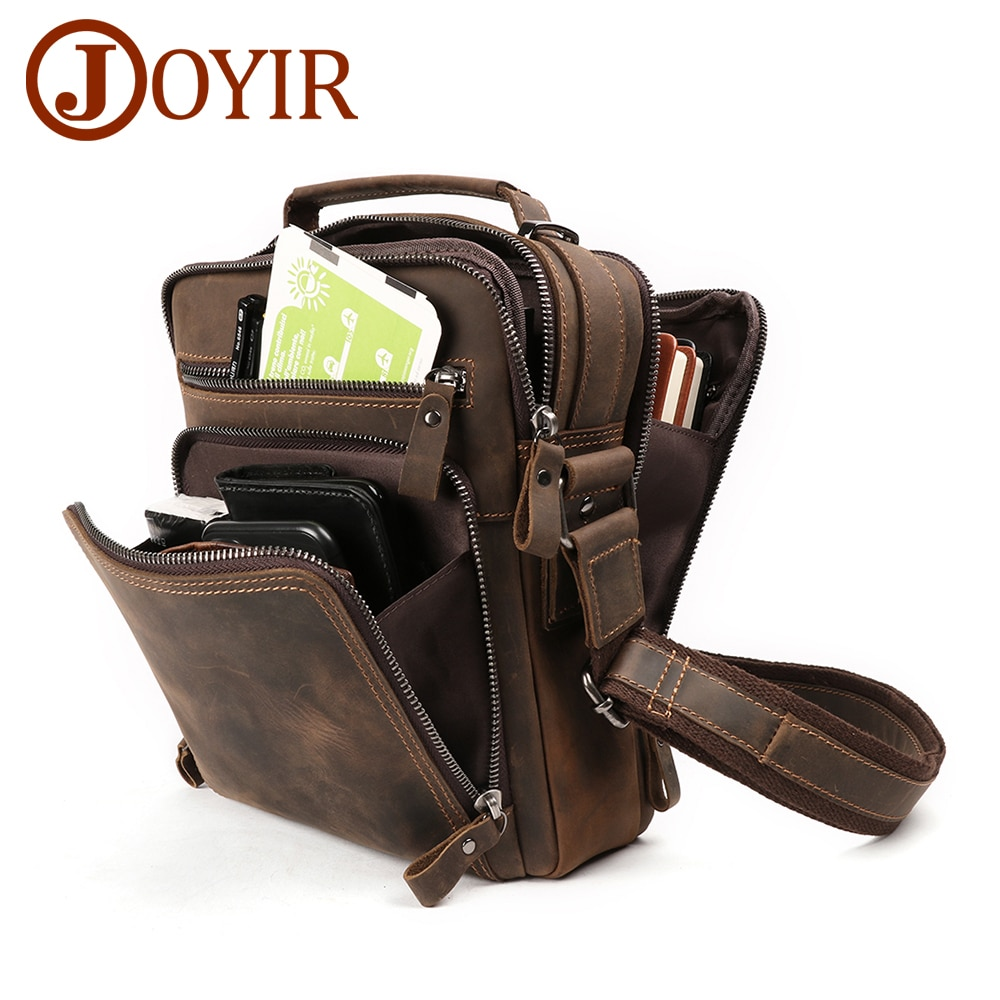 JOYIR New Genuine Leather Men Vintage Handbags Small Flap Men's Shoulder Bag Casual Office Messenger Bags Fashion Crossbody Bag