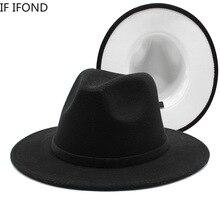 60cm noir avec Patchwork blanc laine feutre Fedora chapeaux femmes hommes à large bord Panama Trilby Jazz casquette fête Cowboy joueur chapeau