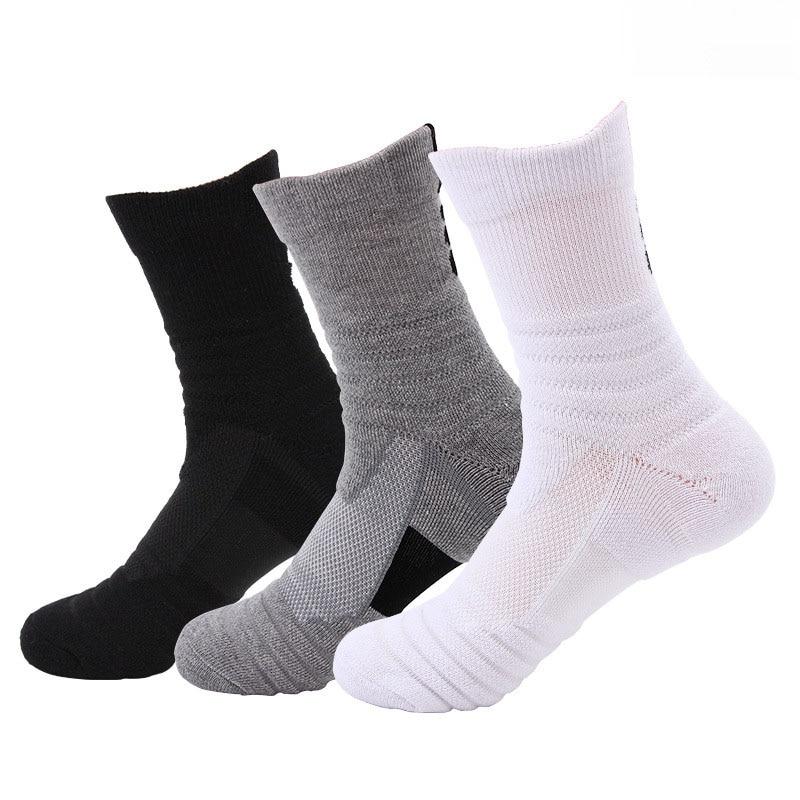 men's mid-tube sports socks badminton running outdoor elite socks brushed socks sweat-absorbent non-slip basketball socks